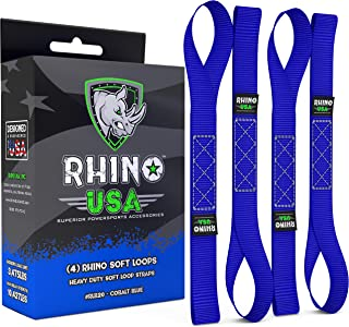RHINO USA Soft Loop Motorcycle Tie Down Straps - Guaranteed 10,427lb Max Break Strength, Heavy Duty Tiedown Loops for Secure and Confident Trailering of Motorcycles, Dirtbikes, ATV, UTV (Blue 4-Pack)