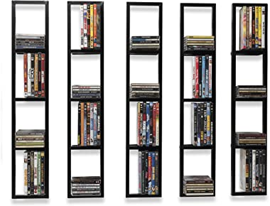 You Have Space Wall Mount 34 Inch Media Storage Rack CD DVD Organizer Metal Floating Shelf Set of 5 Black