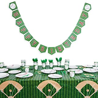 Baseball Birthday Party Pack, Dinnerware Set and Banner (Serves 24, 171 Pieces)