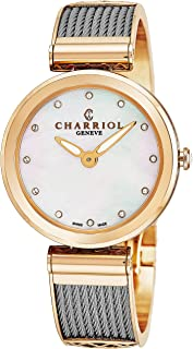 Forever Womens Watches Rose Gold Stainless Steel - 32mm Analog Mother of Pearl Face with Sapphire Crystal Ladies Dress Watch - Twisted Cable Bracelet Luxury Swiss Watch For Women FE32.102.005