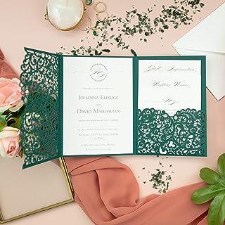 set di 50 inviti Verde Apribile taglio laser inviti matrimonio fai da te partecipazioni matrimonio