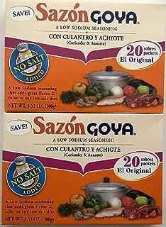 Sazon Goya con Culantro y Achiote 3.52 oz - Low Sodium Seasoning (2 pack)