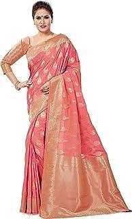 Soru Fashion Banarasi Silk Saree (Cott-668_Pink_Free Size)