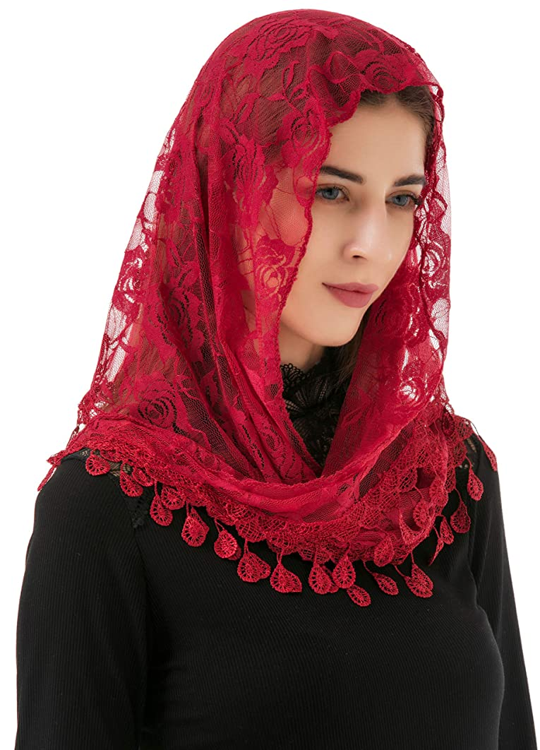 Pamor Mass Veil Triangle Mantilla Cathedral Head Covering Chapel Veil Lace Shawl Latin Scarf