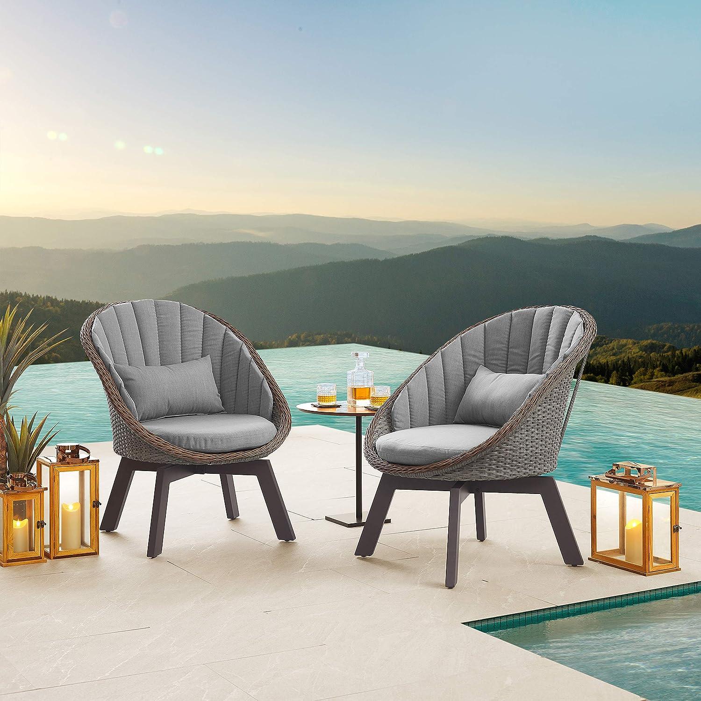 Zouron 360 Degree Swivel Wicker Challenge the lowest price of Japan Luxury goods Ac Outdoor Patio Rattan Aluminum
