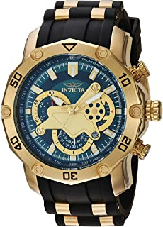 Invicta Men's 'Pro Diver' Quartz Stainless Steel and Silicone Casual Watch, Color:Black (Model: 23425)