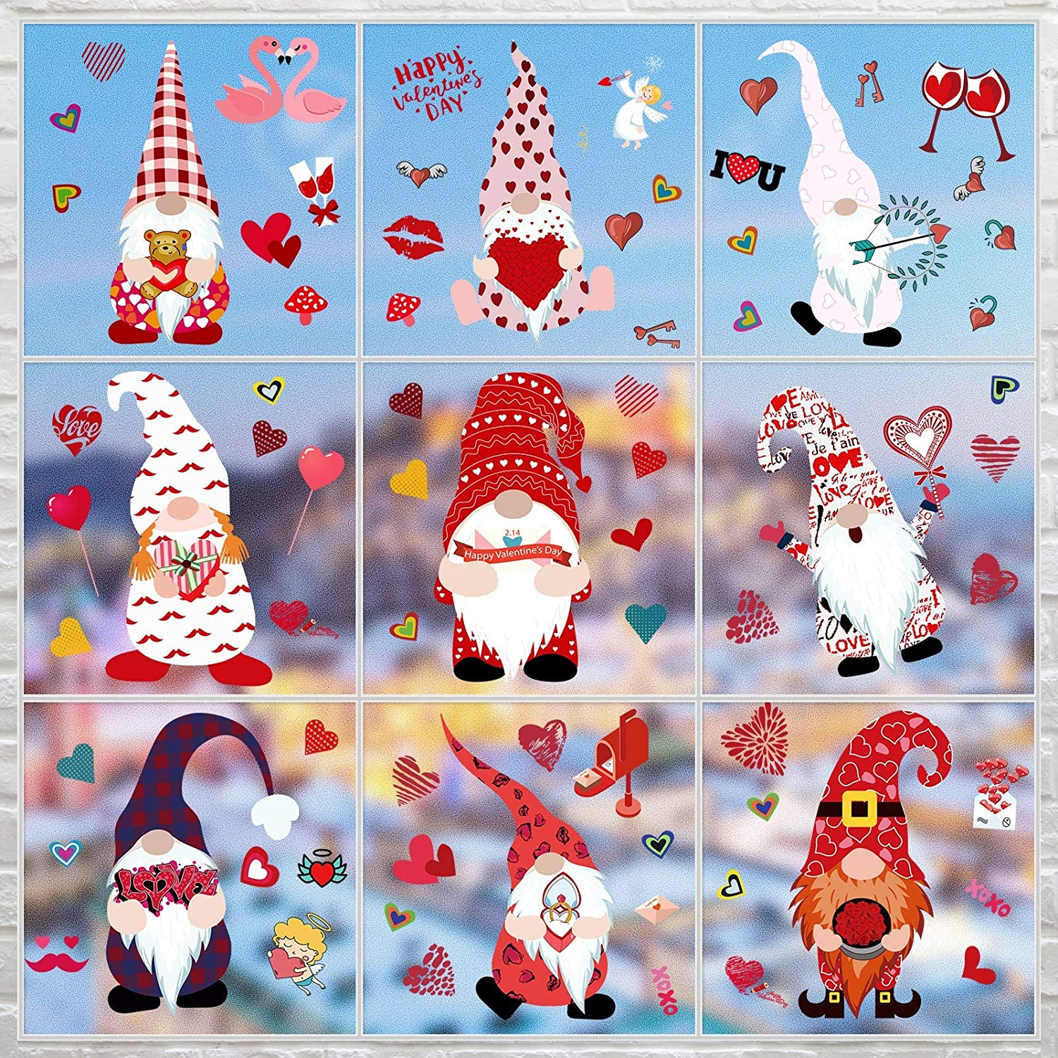 9 Sheets Free Shipping New Valentine's Day Louisville-Jefferson County Mall Clings Decorations Window Gnome