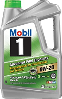 Mobil 1 (120758) Synthetic Motor Oil 0W-20 (Advanced Fuel Economy), 5 Quart, Pack of 4