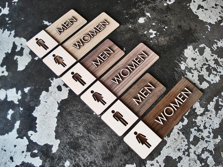Men Women Memphis Mall Restroom Selling Sign Set - Signage Bathroom M Modern Wood
