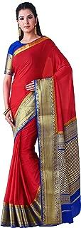 MIMOSA Kanjivaram Style Crepe Saree Color: Red (4399-2376-2D-STRW-RBLU)
