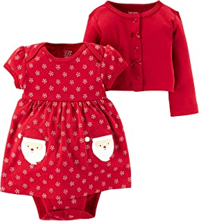 Just One you Baby Girls 2pc Dress & Sweater Set Red-Santa/Snowflake