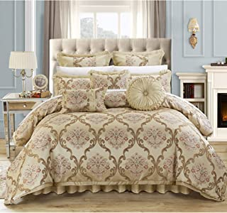 Chic Home Antonio 13-Piece Jacquard Scroll Beige Comforter Set King