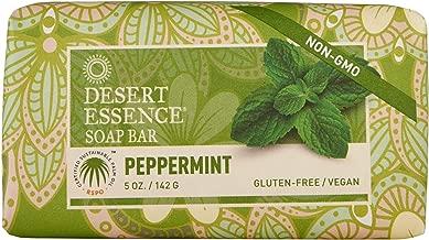 Desert Essence Peppermint Soap Bar - 5 Ounce - Pack of 2 - Cleanse & Soothes Skin - Tea Tree Oil - Aloe Vera - Jojoba Oil - Refreshing Rich Scent - Acne - Invigorating Moisturizer