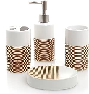 MyGift Deluxe 4 Piece White & Beige Ceramic Bathroom Set w/Soap Dispenser, Toothbrush Holder, Tumbler & Soap Dish