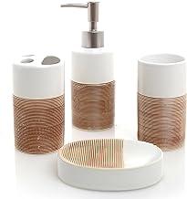 Juego de baño de cerámica de 4 piezas blanco y beige de lujo con dispensador de jabón, portacepillos, vaso y jabonera