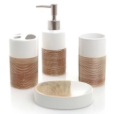 MyGift Deluxe 4 Piece Ceramic Bath Set w/Soap Dispenser, Toothbrush Holder, Tumbler & Soap Dish