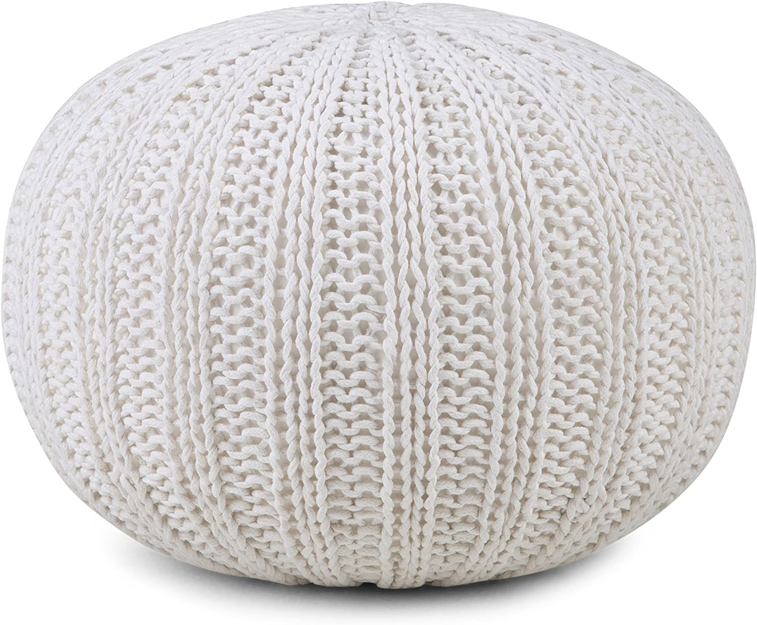 Simpli Home Shelby Round Pouf, Cream