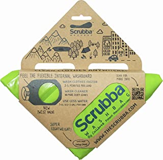 旅行用洗濯袋 Scrubba Washbag スクラバ ウォッシュバッグ 便利トラベルグッズ キャンプ 携帯用洗濯袋 (ウォッシュバッグ, 緑) (緑, ウォッシュバッグ)