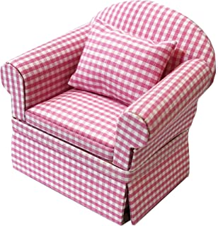 Inusitus Miniature Dollhouse Sofa Arm Chair - Dolls House Furniture Couch - White with Red Pattern - 1/12 Scale (Pink Check)