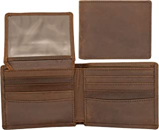 Top Grain Leather Wallet for Men | Ultra Strong Stitching | Handcrafted Argentinian Leather | RFID Blocking | Extra Capacity Bifold Wallet with 2 ID Windows | Slim Billfold with 10 Card Slots | Perfect Gift for Him