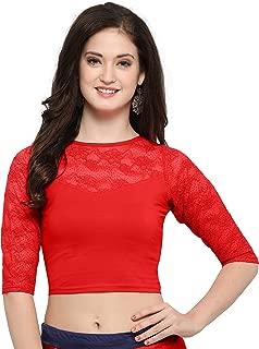 Indian Tunic Top Readymade Cotton Lycra Saree Blouse for Women