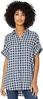 Goodthreads Amazon Brand Women's Modal Twill Short-Sleeve Button-Front Shirt, Blue/Off-White Plaid, Large