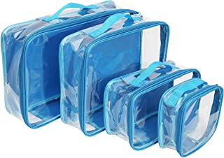 Clear Travel Packing Cubes Set of 4 for Carry On (XS, Small, Medium, Large) / See-Through Clothes Organizer Dividers for S...