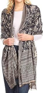 Gianna Women's Silky Soft Reversible Floral Woven Pashmina Scarf Shawl Wrap