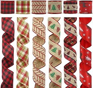 MEEDEE Christmas Ribbon 2.5 Inch 6 Rolls 36 Yards Red Black Burlap Wired Ribbon Bulk Gingham Plaid Christmas Decoration Ri...