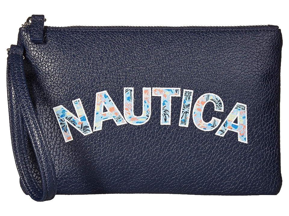 Nautica Heritage Logo Flat Wristlet (Indigo/West Palm) Wristlet Handbags