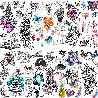 Yezunir 6 Sheets Watercolor Flower Temporary Tattoos For Women Girls Small Lavender Sweetpea Diamond Glitter Face Fake Tat...