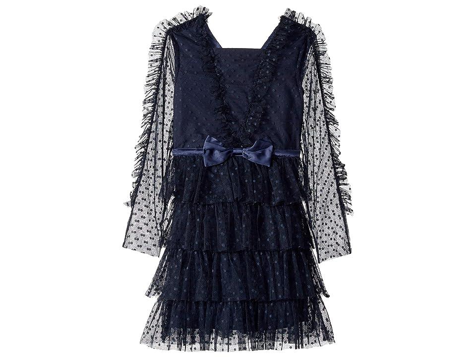 Bardot Junior Hope Mesh Dress (Big Kids) (Navy) Girl