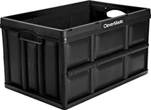 CleverMade CleverCrates 62 Liter Collapsible Storage Bin/Container: Solid Wall Utility Basket/Tote, Black