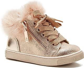 Naturino Express Kids Teodora Girls Lace Up/Zipper Shoe Fashion Sneaker with Fuzzy Fur Trim