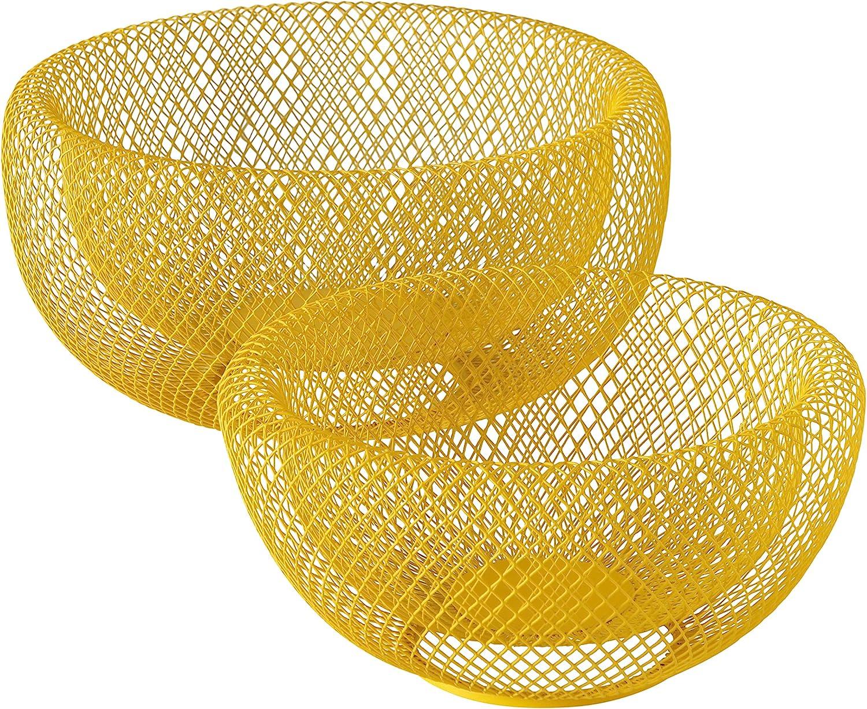 2 Piece Modern Pop Yellow Metal Wire Mesh Fruit Bowl Set, Double
