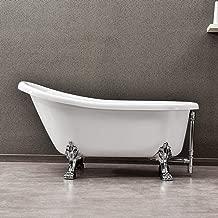 WOODBRIDGE Slipper Clawfoot Bathtub with solid brass Polished Chrome Finish drain and overflow, B-0022 /BTA1522, Tub 59