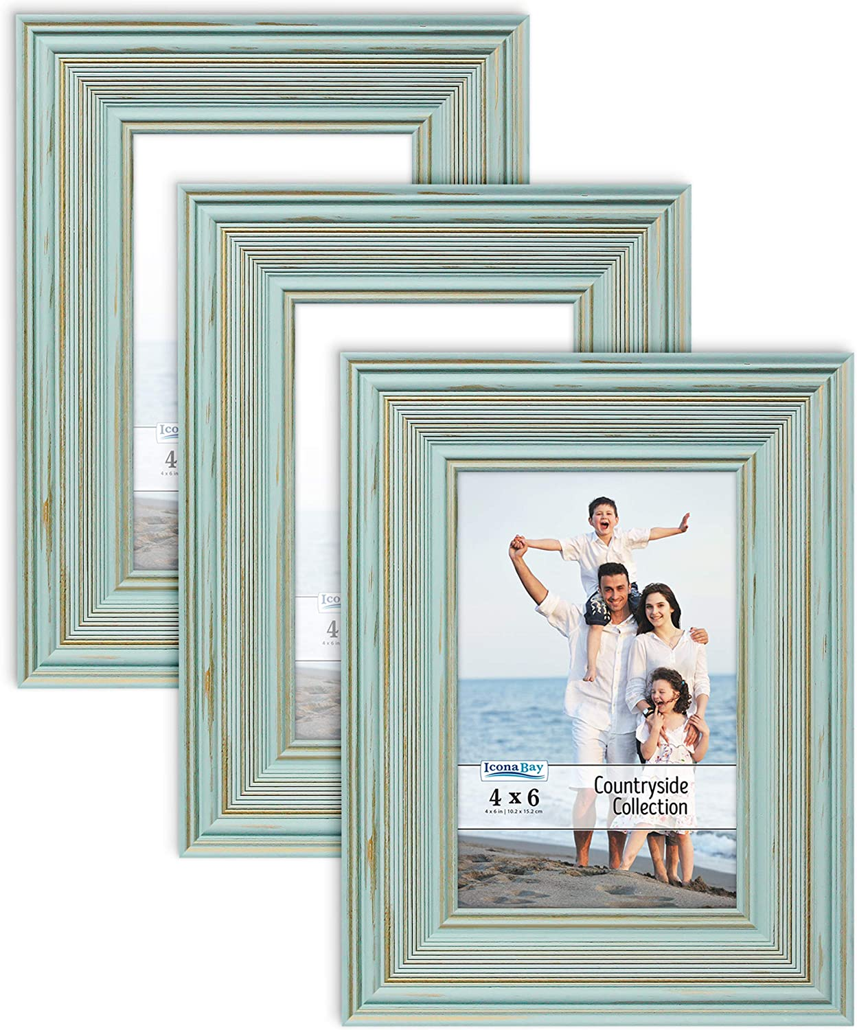 Icona Bay 4x6 Picture Frames (Eggshell Blue, 3 Pack), French Cou