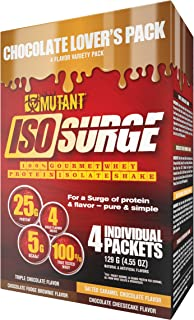 Mutant ISO Surge Chocolate Lover's Pack Features Whey Protein That Acts Fast to Recover, Build Muscle, Bulk, Build Strength and Made Using Only The Best Ingredients - 4 Packets - 4 Flavors