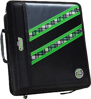 Case-it Z-Binder Two-in-One 1.5-Inch D-Ring Zipper Binders, Green Plaid, Z-177-NEOGRN