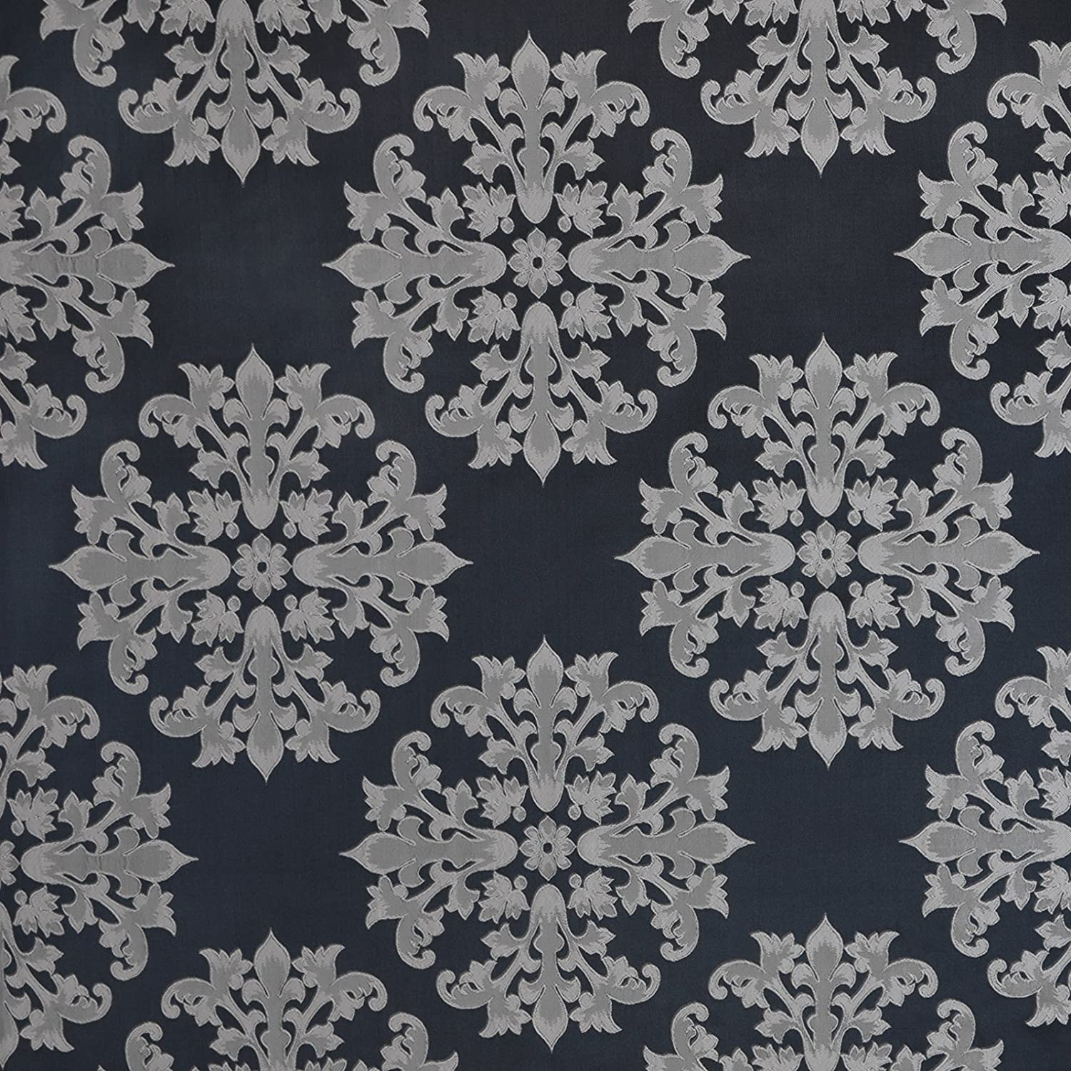 Denim Blue Gray Neutral Medallion Purchase Upholstery Damask Woven OFFicial store Fabric