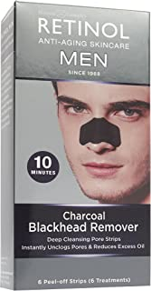 Retinol Men's Charcoal Blackhead Remover – The Original Retinol Anti-Aging Peel-Off Cleansing Pore Strips – Unclogs Pores & Lifts Out Deep-Down Dirt, Oil & Blackheads In Just 10 Minutes