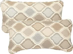 Mozaic AZPS2648 Indoor Outdoor Sunbrella Lumbar Pillows with Corded Edges, Set of 2 12 x 24 Tan & Grey Diamonds