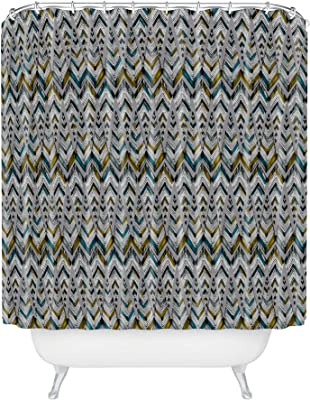 """Society6 Pyramid Line North Pattern State Shower Curtain, 72"""" x 69"""", Green"""
