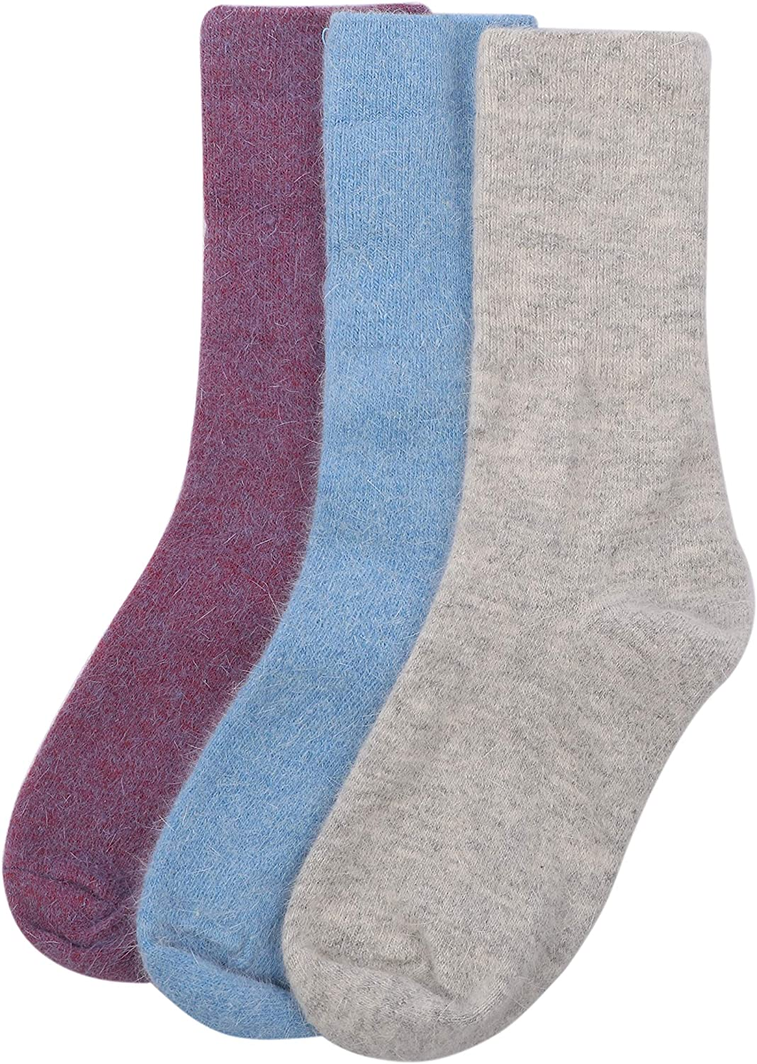 Cashmere Wool Blend Warm Thick Thermal Casual Socks for Women and Girls (3 Pack) Multicolor Cozy Crew Socks Size: 6-9 Great for Indoors Outdoors Hiking or Camping
