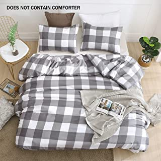 QYsong Grey and White Plaid Duvet Cover Twin (68x90 Inch), 2 Pieces Include 1 Gird Geometric Checker Pattern Printed Duvet Cover Zipper Closure and 1 Pillowcase, Bedding Set for Men and Women