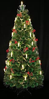 HOLIDAY STUFF 80th Century Noble Fir Pre-lit Fiber Optic Christmas Tree Decorated with Candle Light. (6ft)