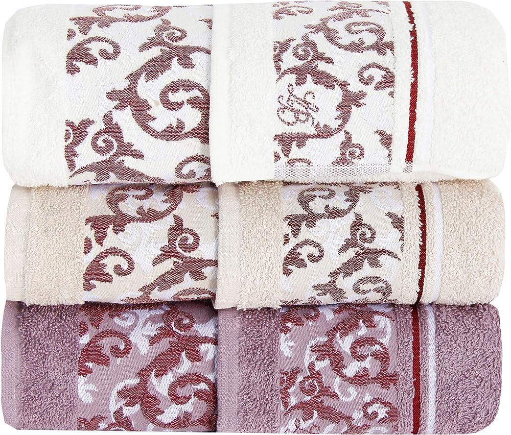 Laura biagiotti,set di asciugamano, 100% spugna di puro cotone,6 pezzi