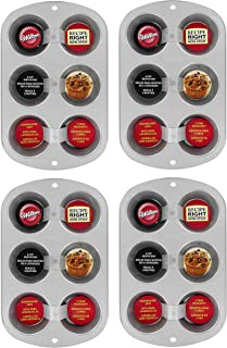 Wilton Recipe Right Muffin Pan, For great Muffins, Cupcakes, Breakfast Potato Egg Cups and so Much More, 6-cups, 4 Pack