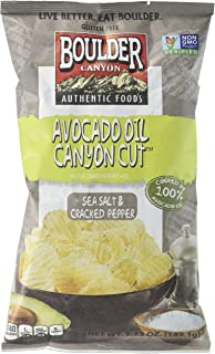Boulder Canyon Avocado Oil Canyon Cut Kettle Cooked Potato Chips, Sea Salt and Cracked Pepper, 5.25 Ounce (Pack of 12)