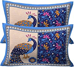 RajasthaniKart 100% Cotton Pillow Cover (Set of 2) -Ethnic Peacock Print, Multicolor - Blue
